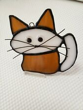 "Stained Glass""Cat"" sun catcher or ornament , 4 x 4  inch"