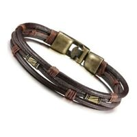 Men's Leather Bracelet Tribal Braid Cuff Hand Chain Bracelet Leather Cord L K5H9