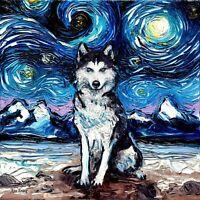 Canvas Art Print Siberian Husky Starry Night by Aja dog animal wall decor