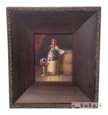 """Original Textured Canvas Hand Painted Singel Wine Bottle / Glass  19""""x17""""x2.5"""""""