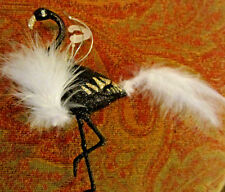 1 Black Flamingo Feather Bling christmas Halloween Ornament Decoration Fluffy