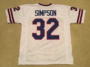 UNSIGNED CUSTOM Sewn Stitched O.J.  Simpson White Jersey - M, L, XL, 2XL, 3XL