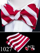 UK Mens Bow Tie Self Tie Red Burgundy Black White Paisley Polka Dot Bowtie Set