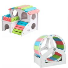 Set of 2 - Hamster House and Running Exercise Wheel with Stand