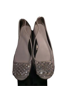 kate spade 9.5 clear flats with glass rhinestones