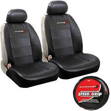 5pc Dodge Elite Universal Black PU Leather Sideless Seat Covers Steering wheel
