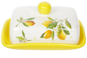 """5x7"""" Porcelain Butter Dish with Lemons Pattern in Country Style"""