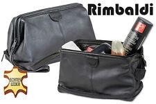 Rimbaldi Neceser de cuero con Bolsillo adicional en el suelo en negro