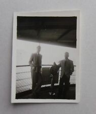 1950s B/W Photograph. Two Men on Ship with Chadburn. Engine Order Telegraph. HK