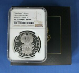 """2021 Silver Proof 1oz £2 coin """"Griffin of Edward"""" NGC Graded PF70 with Case/COA"""