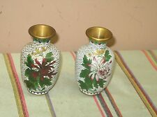 Pair of 2 Vintage Chinese Cloisonne Enamel Gold White Floral Vase Excellent 4""