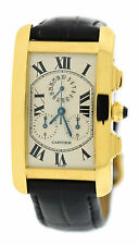 Cartier Tank Americaine Chronograph 18K Yellow Gold Watch 1730