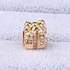 18K Gold Plated Christmas Gift Box CZ Spacer Charm Bead Fit Bracelet Necklace