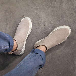 Men's Outdoor Sports Breathable Comfort Ankle Boots Casual Canvas Slip On Shoes