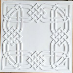 Ceiling tiles Faux tin white matt decor  basso-relievo saloon wall panel PL61
