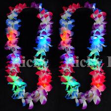 2 Lei Hawaiian LED Luau Necklace Flashing Rave Blinking Flower Vacation Glow
