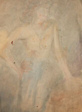Vintage modernist nude female portrait watercolor painting