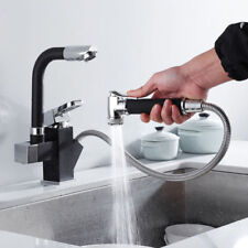 360° Swivel Spout Kitchen Sink Mixer Taps With Pull Out Bidet Spray Tap Black