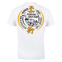 MMA BJJ Brazilian Jiu Jitsu Gym Martial Arts Mens White Cotton T-shirt Top Tee