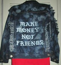 MAKE MONEY NOT FRIENDS Holey Bleach Fitted Distressed Denim Jean Jacket Jrs XS S