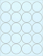 "6 SHEETS 2"" ROUND CIRCLE BLANK BLUE STICKER 120 LABELS"