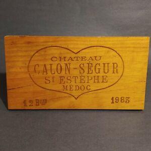 vtg 1983 Chateau Calon-Segur St Estephe Medoc wine box end side crate panel wood