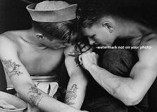 Hot Vintage Sailor Navy Tattoo PHOTO Sexy Friend World War 2 USS New Jersey