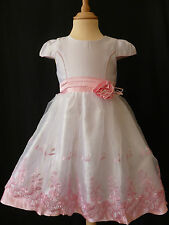 GIRLS PINK & WHITE ROSE EMBROIDERED FLOWER WEDDING PARTY DRESS 8 - 9 YEARS UK