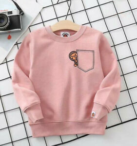 Kids Boy Girl Little Monkey Pocket Printed Hoodie Sweatershirt Casual Clothes