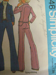 Vintage 70's Simplicity 7146 RETRO BACK YOKE PANTS & JACKET Sewing Pattern Women