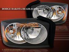 05 06 07 Dodge Dakota Crystal Black Housing Headlights + Amber Reflector NEW