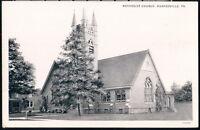 HUGHESVILLE PA Methodist Church Vintage B&W Town View Postcard Early Old PC