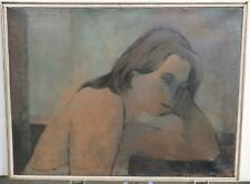Woman in Slip Leaning on Elbow & Thinking-Oil Painting-1966-August Mosca
