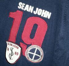 Vintage Sean John Signature Crest Logo Patch Crew Neck 100% cotton Sweater L Red