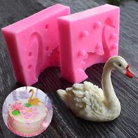 3D Beau Cygne Fondant Moule Silicone Bougie Sucre Artisanat Outil Moule
