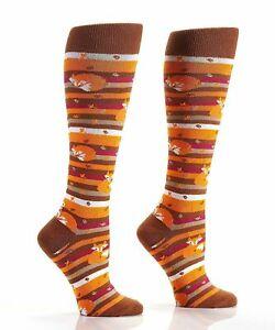 Yo Sox Knee High Socks Women's Fall Harvest Fox Themed Fashion Orange Brown