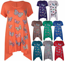 Womens Butterfly Print Ladies Uneven Hem Bead Glitter Long T-Shirt Top Plus Size