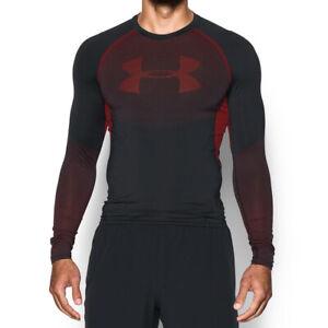 Under Armour UA HeatGear Mens Graphic Black Sports Training Compression Top L