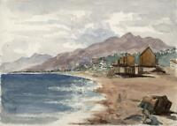 HASTINGS COASTLINE Small Victorian Watercolour Painting 1870