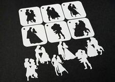 Set of 6pcs Disney Themed Princess and Prince Couple Stencils Silhouettes Paint