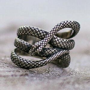 Boho 925 Sterling Silver Elegant Fashion Jewelry King Cobra Snake Ring Size 9