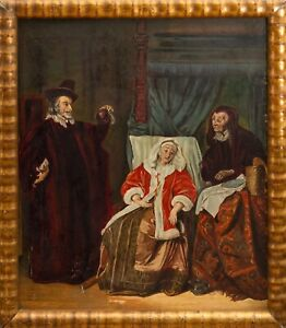 Antique 19th Century Oil Wood Painting Hospice Woman Healing Old Master Framed