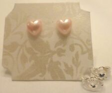 Adorable Pale Pink Pearlized Resin Heart  Stud Earrings For Women and Kids