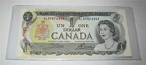 1973 Bank of Canada $1 dollar banknote BC-40b radar descending # ALR 9876543 UNC