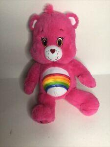 "Care Bears Build A Bear Pink Cheer 17"" 2015 Sings CB Tune Rainbow Tags Cut"