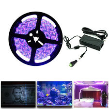 5M UV Schwarzlicht LED Streifen mit Netzteil UV LED Strip 300 LEDs Lichtband 12V