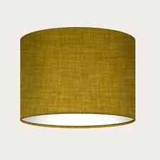 ** SALE ** 15 cm Mustard Yellow Textured Woven Crosshatch Drum Lampshade