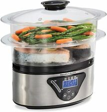 Electric Digital Food Steamer 2 Tier With Automatic Warm For Vegetables Seafood