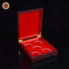 WR Red Wood Coin Display Box Holder For 5 40mm Coin Capsules Collector Gift