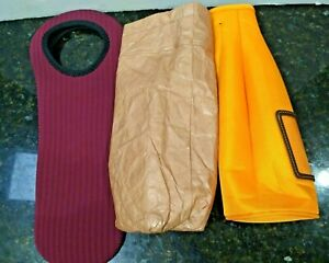 Lot of 3 Wine Cooler Insulated Bags - Napa Valley, Brown Bagging It, Orange